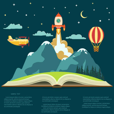 Imagination concept, Reading opened book, mountain, flying rocket, air balloon and airplane. Vector