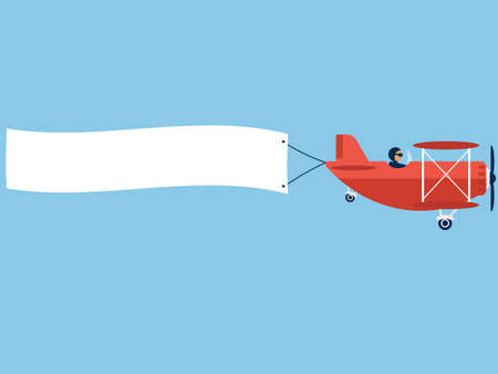 Airplane with blank poster. Plane with banner. Red Biplane with white ribbon in blue sky. Vector Illustration