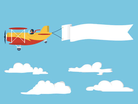 Airplane with poster Illustration