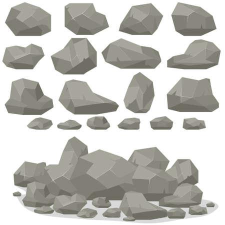 Rock steen cartoon in isometrische 3d platte stijl. Set van verschillende keien. Natuurlijke stenen stapel. Vector