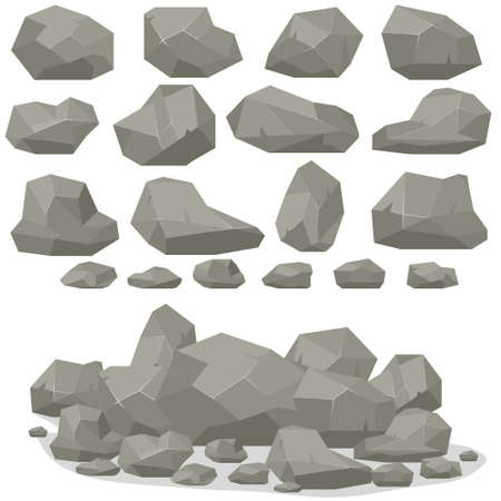 Rock stone cartoon in isometric 3d flat style. Set of different boulders. Natural stones pile. Vector Çizim