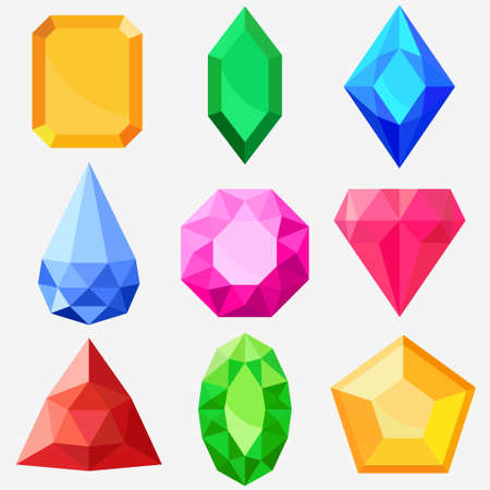 Jewels set, gems and diamonds vector
