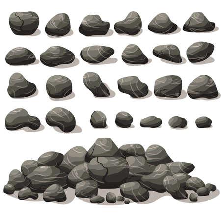 ロック等尺性フラット スタイルで石の漫画。異なる岩のセットです。天然石杭。ベクトル
