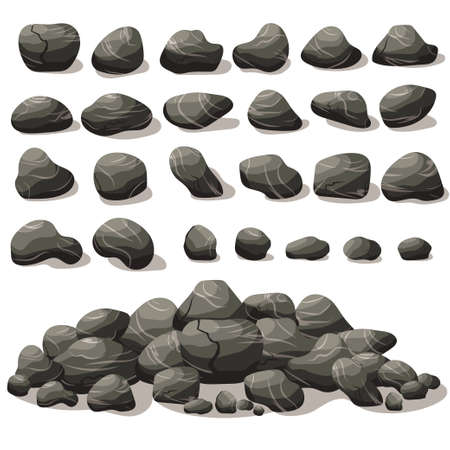 Rock stone cartoon in isometric flat style. Set of different boulders. Natural stones pile. Vector