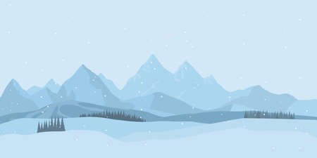 Winter landscape background with snow. Flat design, Christmas forest woods with mountains, New Year greeting card. Vector Çizim
