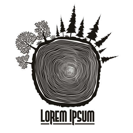Wood stump emblem, tree trunk vector