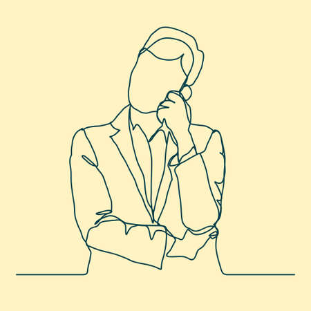 Businessman thinking, Thoughtful man outline. Vector