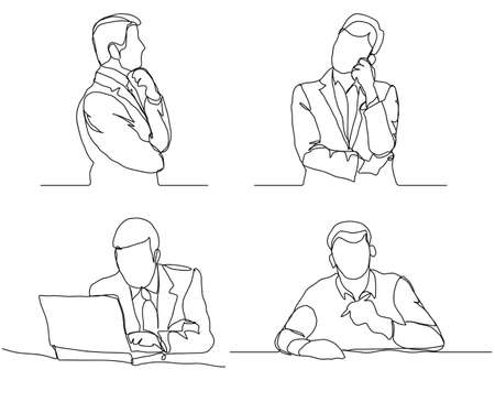 Businessman thinking linear design, continuous line, Thoughtful man with laptop outline.