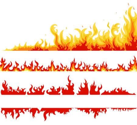 Fire banner set, fame backgrounds, Horizontal bonfire template for web or brochure, explosion decoration. Vector