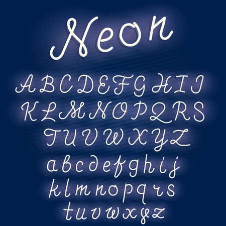 Neon alphabet script font glowing letters set. Retro Character typeset.  vector