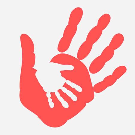 Mama i dziecko Handprint. Dama kobiety i dziecka. Ręce - ilustracja społeczna Vector