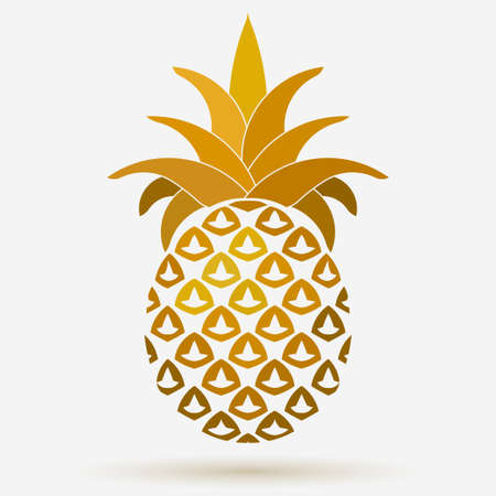 white fabric texture: Pineapple golden fruit Design element, Tropical summer food