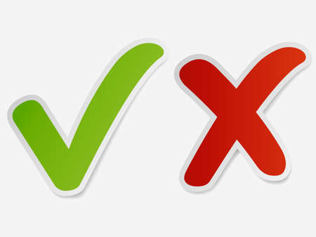 Check mark stickers, Green Tick and red cross signs. Button for vote YES and NO. Vector