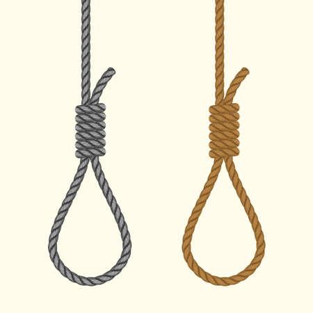 Kabel hangende lus. Lus met hangmansknoop. Zelfmoord Doodstraf door op te hangen. Vector Stock Illustratie