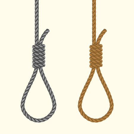 Rope hanging loop. Noose with hangmans knot. Suicide Death penalty by hanging. Vector