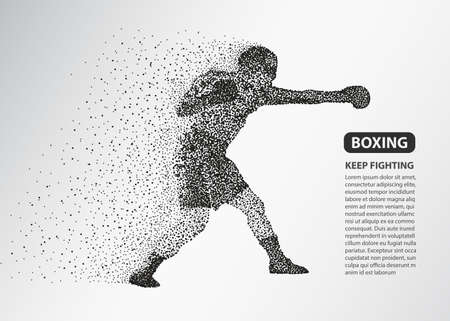 Boxer dots silhouette, Boxing fighter banner, Box sport particle composition. Vector