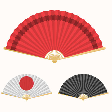Japan folding fan. Japanese culture symbol. Hand paper fan set Stock Photo