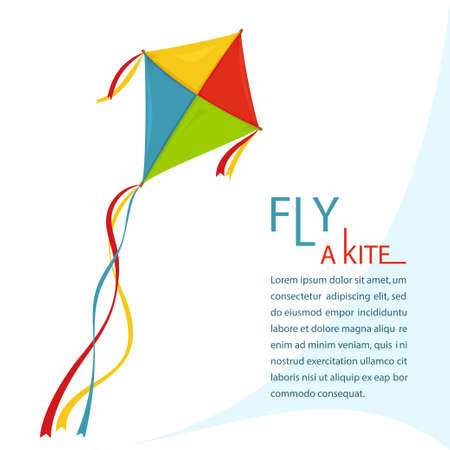 Fly Kite in Sky, vector Illustration