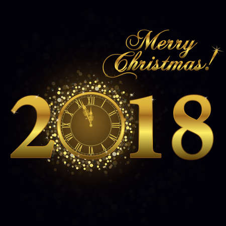 Gold clock 2018, Happy New Year Luxury background. Merry Christmas Golden Greeting Card with glitter gold numbers. Vector