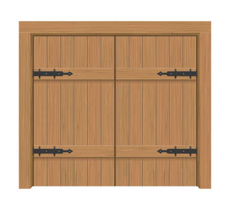 Wooden door gate, Interior apartment closed double-door with iron hinges, Realistic vector Illustration Illustration