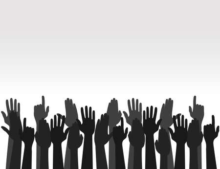Hands raised upward in gray background. Election concept. Arms in the top. Vector Vectores