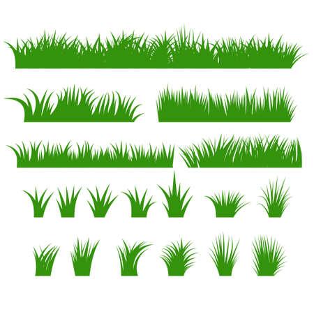 Ensemble de bordures de gazon, plantes de touffes vertes Rangée horizontale, buisson de différentes formes. Elemehns naturel, organique, bio, écologique. Illustration vectorielle