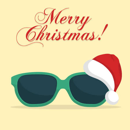 Sunglasses with Santa Klaus Hat. Christmas background template. New Year on the beach. Vector 写真素材