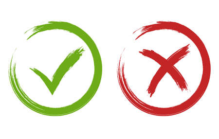 Tick and cross signs. Green and red checkmark vector