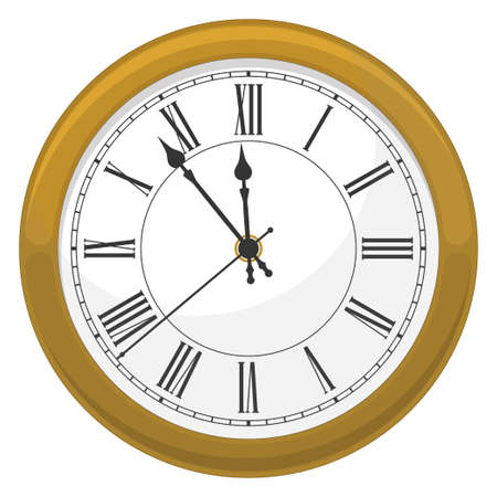 Golden clock for new year and christmas design vector Illustration