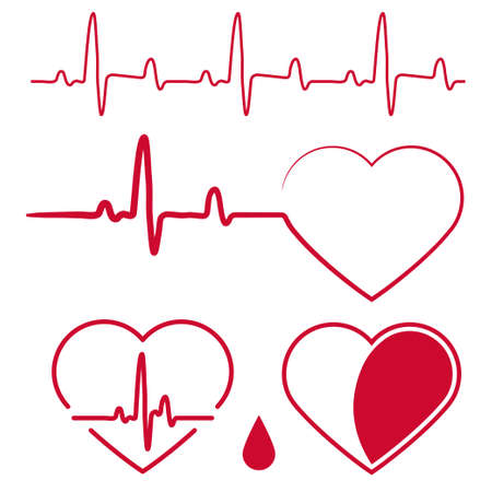 Heart Shape with cardiogram waves,Heartbeat Graph Red sign, One line pulse, healthy rate monitoring, cardiograph diagram. Vector Vettoriali