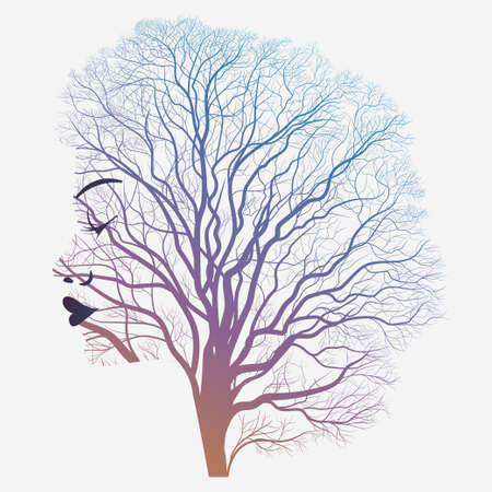 Woman portrait with double exposure, face profile silhouette and autumn tree branches. Vector