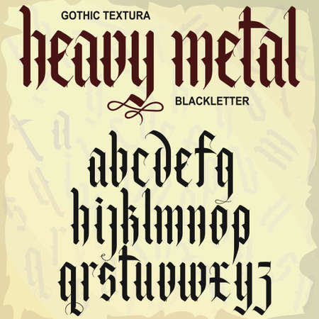 Gothic font, medieval script, lowercase calligraphic letters, Full alphabet set, Blackletter style typeface. Vector