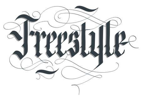 Freestyle lettering typography emblem, extreme sport t-shirt, bmx skateboard rider print, floristics calligraphy, athletic apparel, urban tee vector Vectores