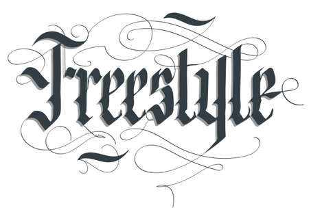 Freestyle lettering typography emblem, extreme sport t-shirt, bmx skateboard rider print, floristics calligraphy, athletic apparel, urban tee vector Stock Illustratie