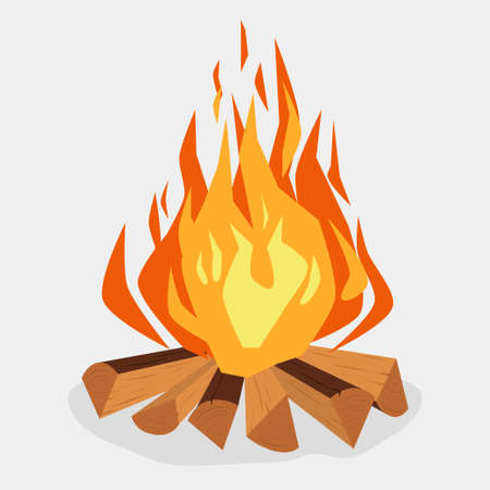 Bonfire cartoon style illustration
