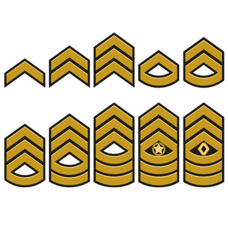 Military ranks symbol, epaulet set, Army Patches with stars, armed warrior badge typography, t-shirt graphics. Ilustracja