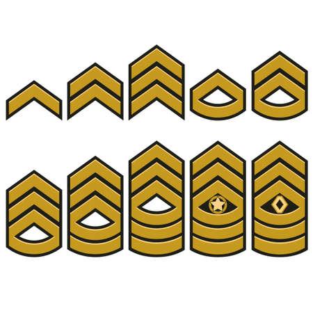 Symbole de rangs militaires, ensemble d'épaulettes, écussons de l'armée avec étoiles, typographie d'insigne de guerrier armé, graphiques de t-shirt. Banque d'images - 93937058