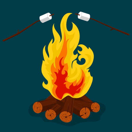 Bonfire cartoon style illustration, camping, burning woodpile, campfire or fireplace Burning on Firewood, Outdoor Tourism. Vector Illustration