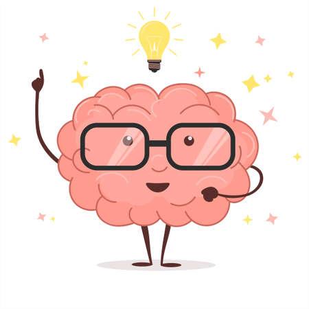 Brain with glasses and idea light bulb. vector Vettoriali