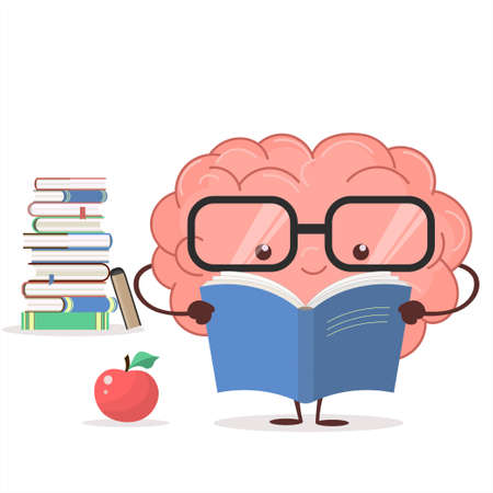 Brain with glasses and book on white background, human train intellect, knowledge, education and Brainstorm concept. Vector Banque d'images - 95041315