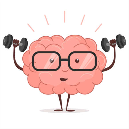 Brain training with dumbbells and glasses on white background, human train intellect, mind fitnes workout, knowledge fitness exercises, lifting weights, cartoon education and Brainstorm concept. Vector