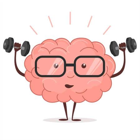 Gehirntraining mit Dummköpfen und Gläsern auf weißem Hintergrund, menschlichem Zugintellekt, Verstand fitnes Training, Wissenseignungsübungen, anhebenden Gewichten, Karikaturbildung und Geistesblitzkonzept. Vektor