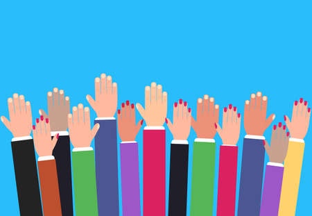 Hands raising up, raised colorful arms, volunteering vector concept, education and business. Çizim
