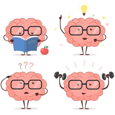 Brain cartoon set.