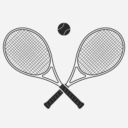 Tennis racket and ball, gear for the game, Equipment for Competition. vector Stock Illustratie