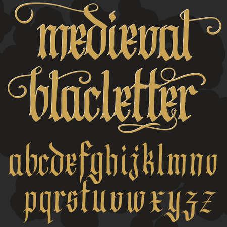 Gothic font, handmade medieval script, lowercase calligraphic letters, Full alphabet set, Blackletter style typeface. Vector