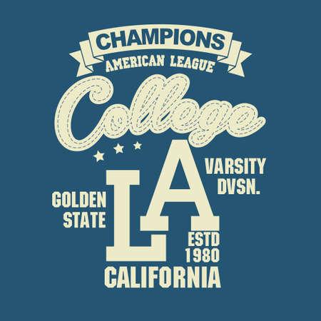 California sport wear T-shirt design. Los Angeles City Typography Graphics. emblem, tee print, athletic apparel design.