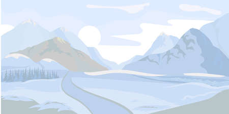 Winter landscape background. Vector 일러스트
