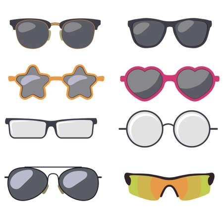 Sunglasses set, Summer eyewear, vector Stock Illustratie