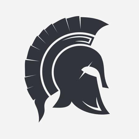 Gladiator, Trojan hat, Spartan Helmet silhouette, Greek warrior - legionnaire heroic soldier. vector Stock Photo